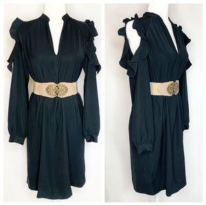 Ann Taylor Cold Shoulder Ruffle Trim A Line Dress